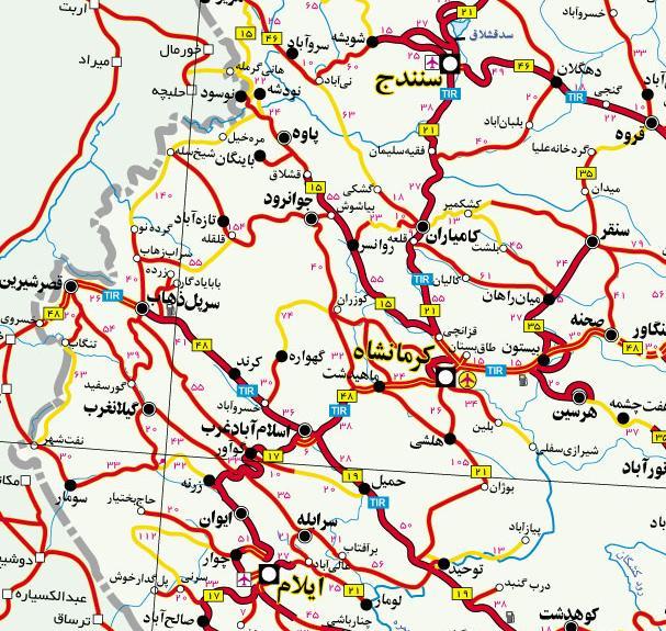 نقشه ی راههای ورودی و خروجی جوانرود