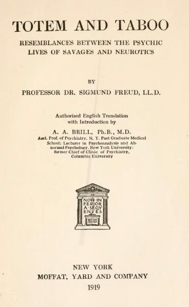 Totem and taboo دانلود کتابها و مقالات زیگموند فروید