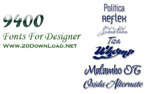9400 فونت حرفه ای و نایاب برای طراحی - Fonts for Designer