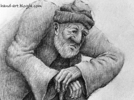 طراحی سیاه قلم پیرمرد-نمای نزدیک