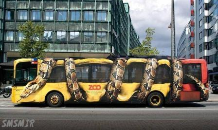 نقاشی عجیب روی اتوبوس