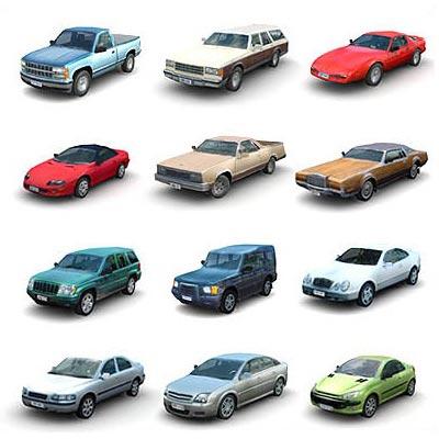 دانلود مجموعه ابجکت های سه بعدی اتومبیل