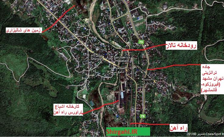 تصویر ماهواره ای از شهر شیرگاه