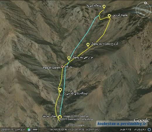 نقشه ماهواره ای دربند - پناهگاه شیرپلا