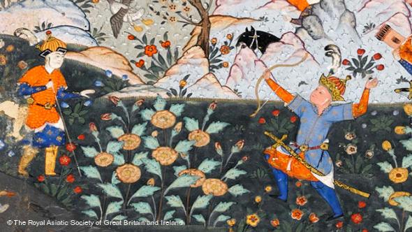 زال در حین شکار مرغان وحشی، برگی از شاهنامه موزه