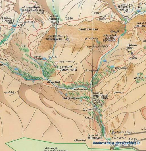 نقشه مسیر دربند - دره اوسون