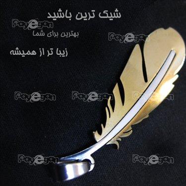 خرید اینترنتی پستی گردنبند پر زنانه دخترانه رنگ طلایی نقره ای