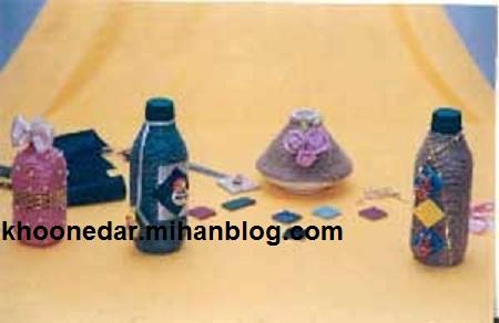 تزئین ظروف با نخ گونی آموزش عکس