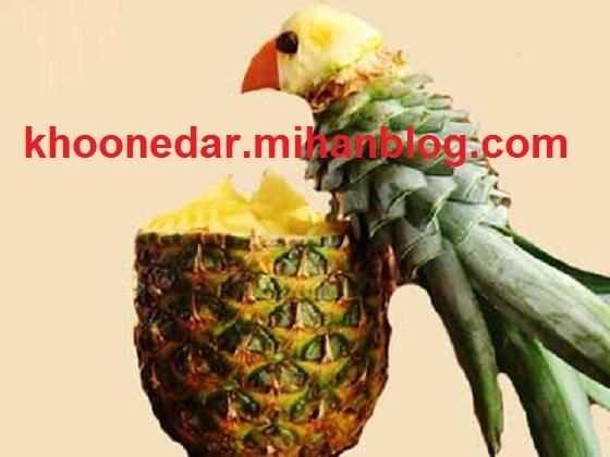 تئیین آناناس به شکل طوطی