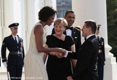 خانوم مرکل و همسر اوباما