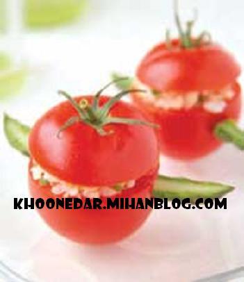 دلمه ی گوجه فرنگی با ژامبون