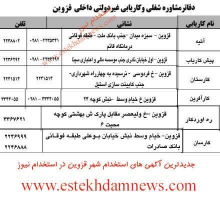 آدرس و شماره تلفن دفاتر کاریابی شهر قزوین