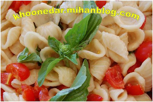 پاستا  ژامبون و گوجه فرنگی