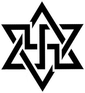ستاره 6پر و صلیب شکسته در هم آمیخته نماد فراماسونری