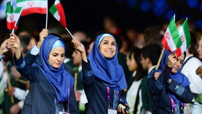 بانوان محجبه ایران در رژه افتتاحیه المپیک