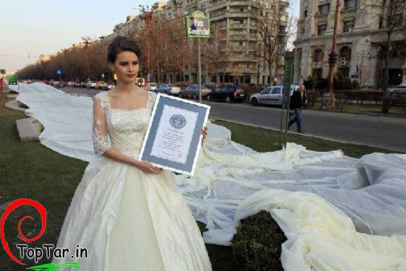 رکورد طولانی ترین لباس عروس دنیا در گینس