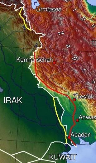 مرزهای ایران و عراق و مناطق تصرف شده توسط طرفین در طول هشت سال نبرد
