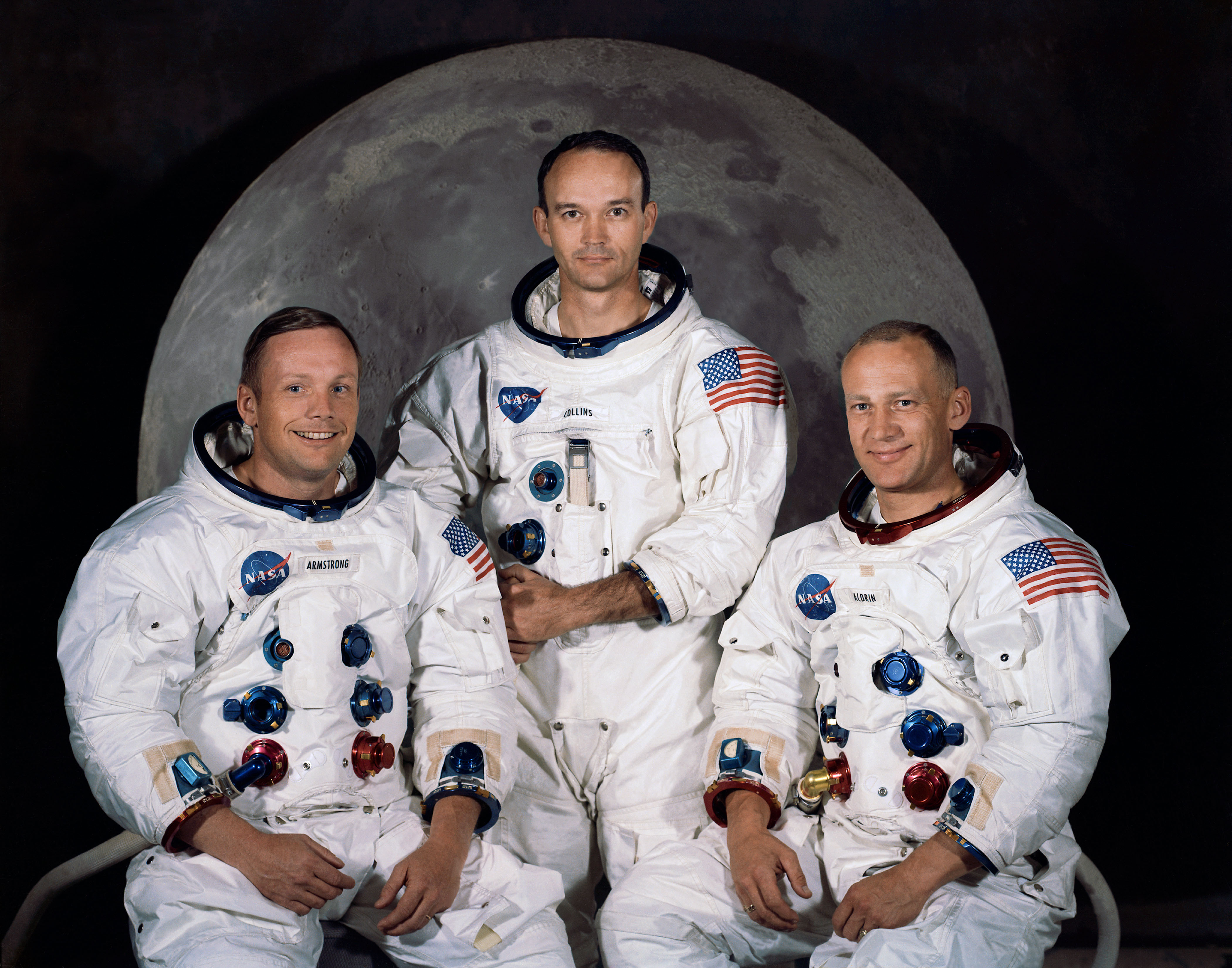از چپ به راست:نیل آرمسترانگ,مایک کالینز,باز آلدرین