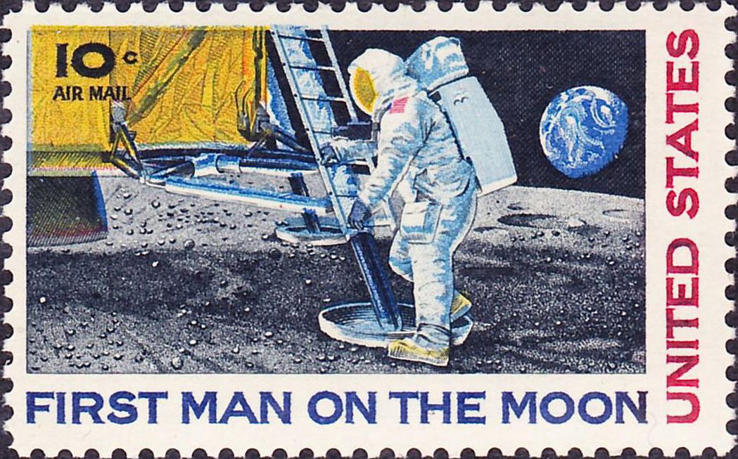 تمبر یادبود نخستین انسان بر روی ماه