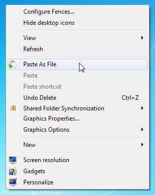 ذخیره مستقیم محتوای کلیپ برد در یک فایل با PasteAsFile