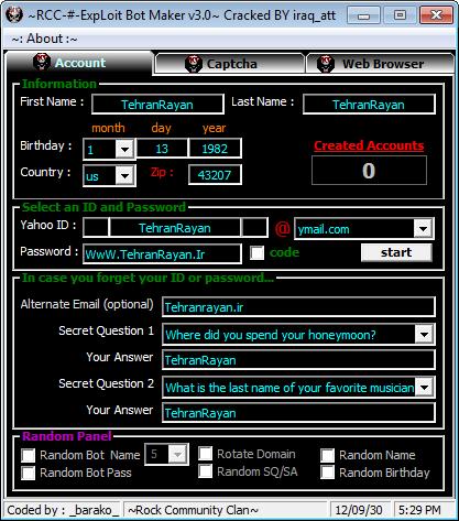 ساخت آیدی نامبر با ~RCC-#-ExpLoit Bot Maker v3.0~(VIP)