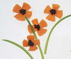 تزئین هویج به شکل گل