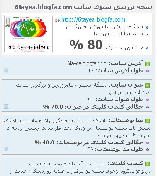 سئو و بهینه سازی سایت طرفداران شیش تاییا