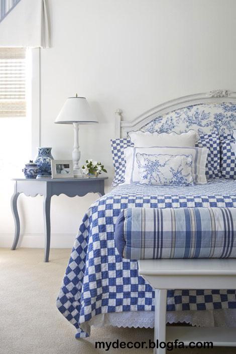 طراحی دکوراسیون اتاق خواب آبی و سفید