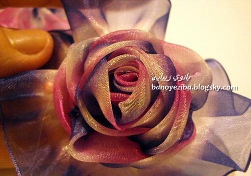 دوخت گل روبانی گل سر