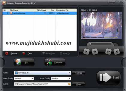 نرم افزار تبدیل فایل های پاورپوینت به فایل های ویدیویی FLV