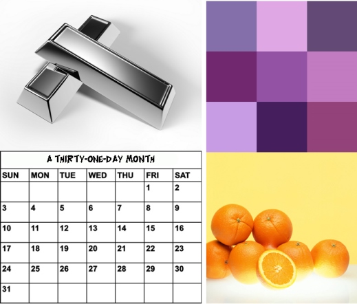 month - orange - silver - purple do not rhyme with other words