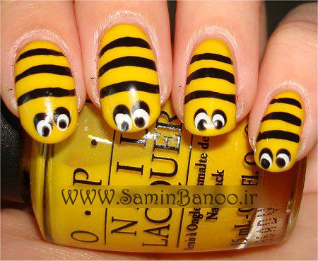 آموزش مانیکور ناخن زنبوری زرد و مشکی bumble-nail-art-tutorial-bee-nails