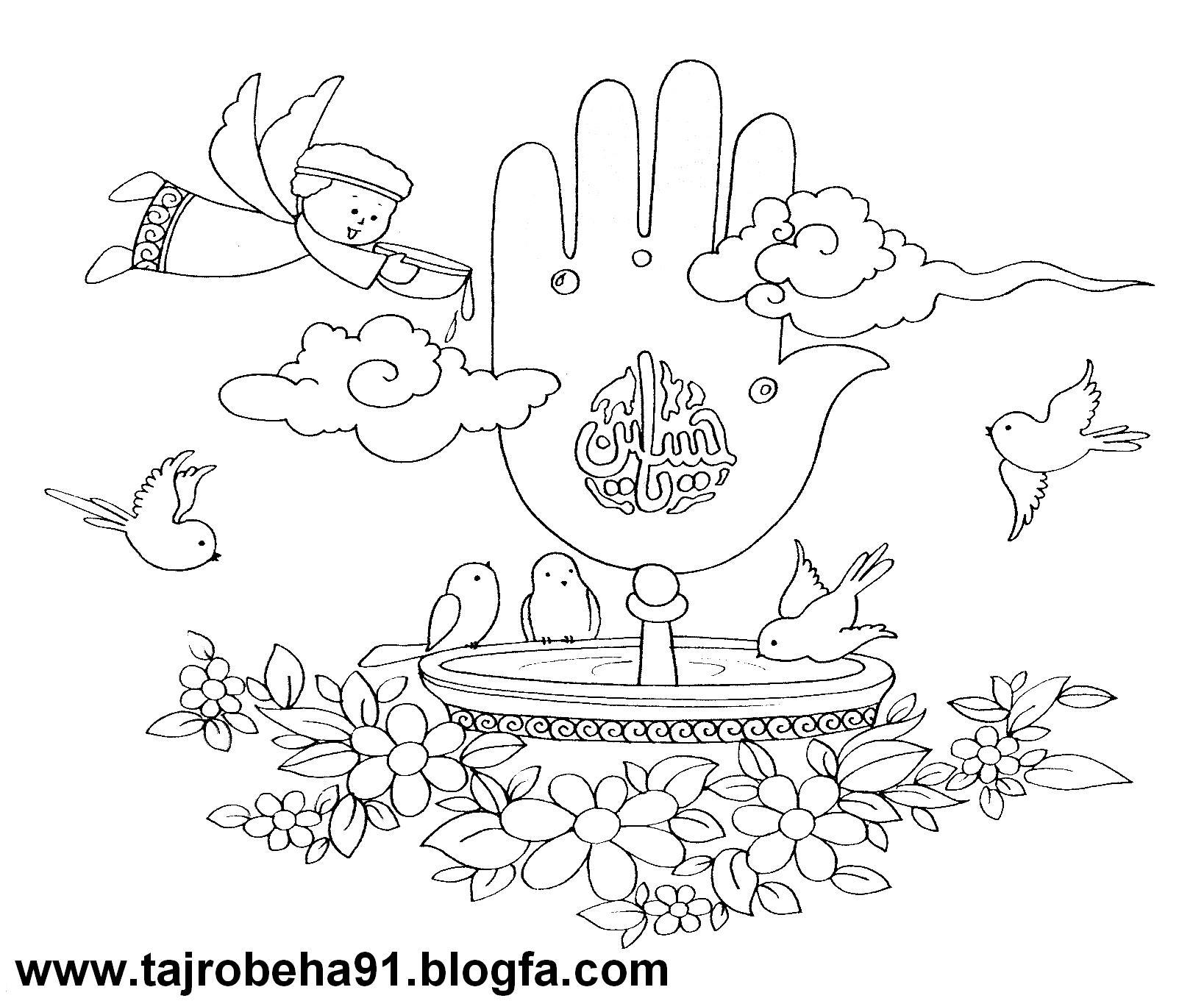 تصویر مذهبی کودکانه برای رنگ آمیزی میلاد امام حسین ع