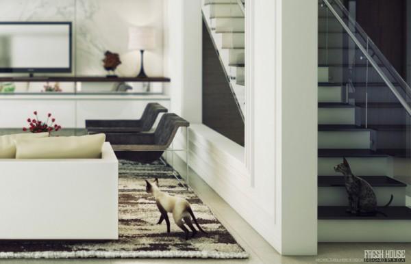 چند طراحی سه بعدی رندر شده به سبک معاصر