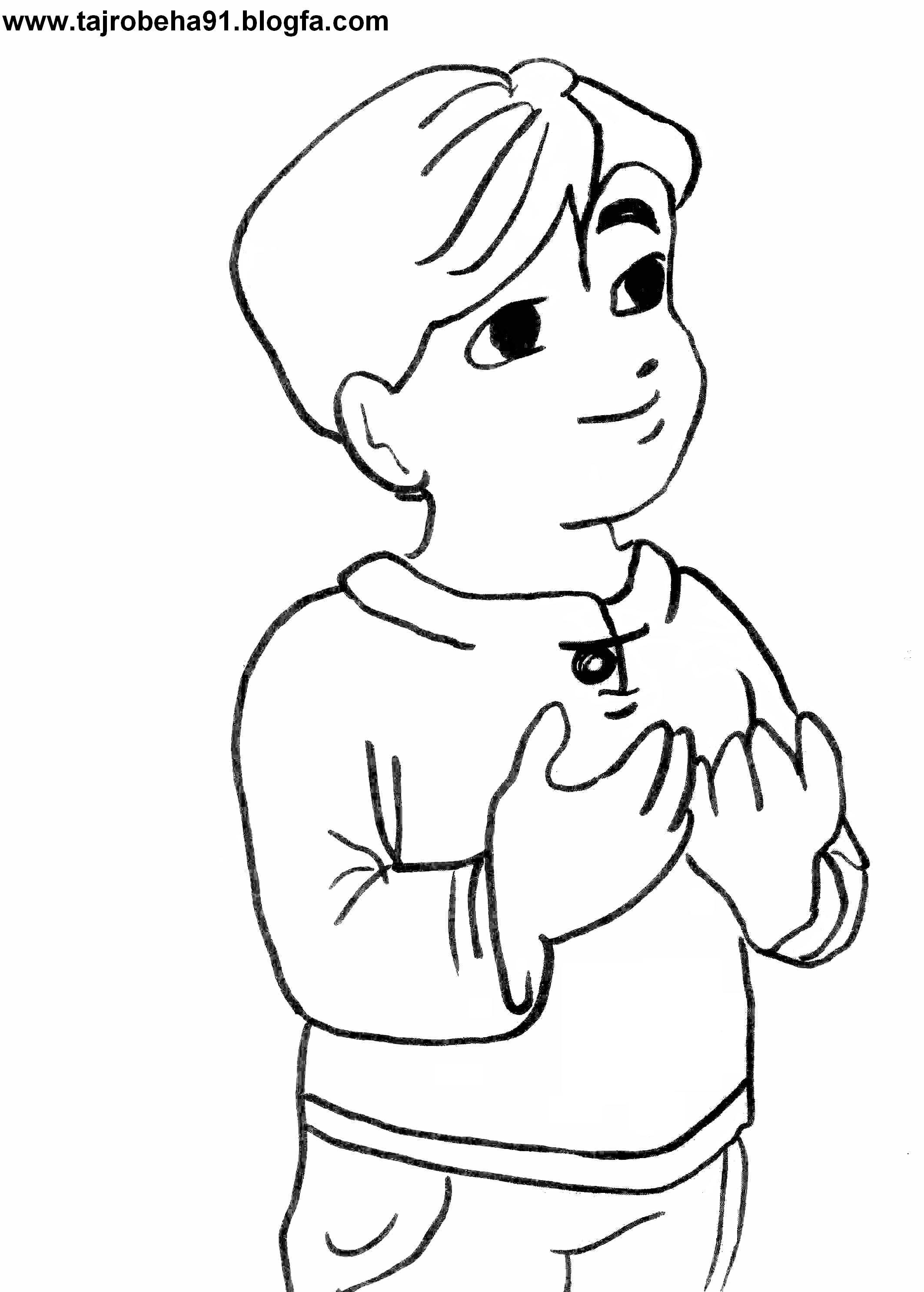 تصویرپسری در حال دعا برای رنگ آمیزی
