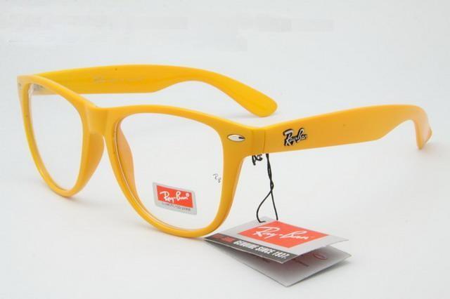 خرید عینک فریم زرد ویفری شیشه شفاف ریبن