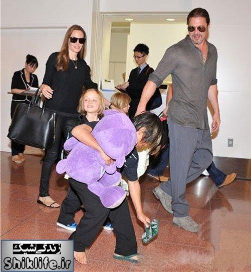 آنجلینا جولی و برد پیت و فرزندانشان در ژاپن