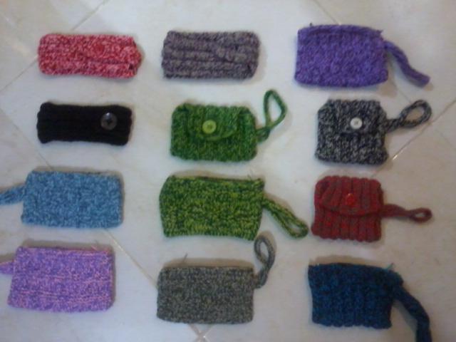 کیف موبایل بافتنی