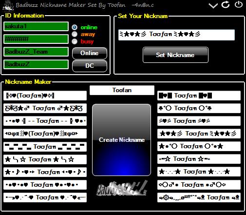 Badbuzz NickName maker Set By Toofan Nickname