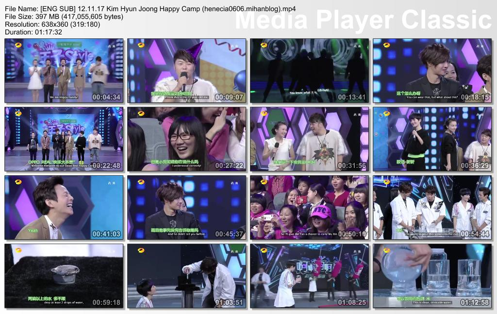 Eng Sub Video_Kim Hyun Joong Happy Camp 12.11.17