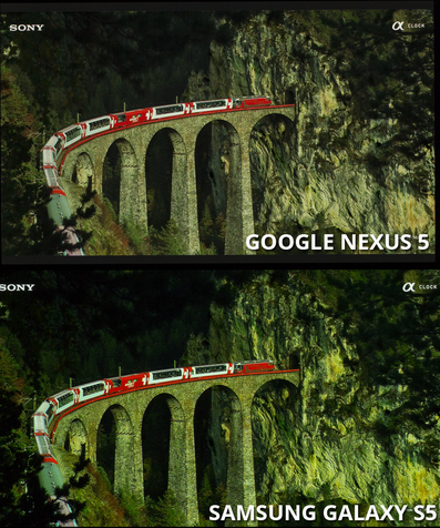 مقایسه ی صقحه ی نمایش Galaxi S5 با دیگر رقبا