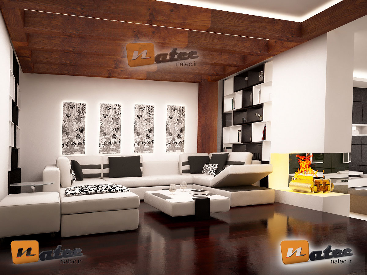 نمونه کار طراحی اتاق نشیمن خصوصی مدرن از ناتک