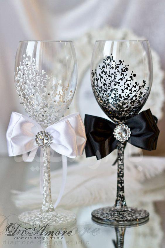گیلاس عکس بازار سفید - مدلهای جدید تزیین جام عروس و داماد