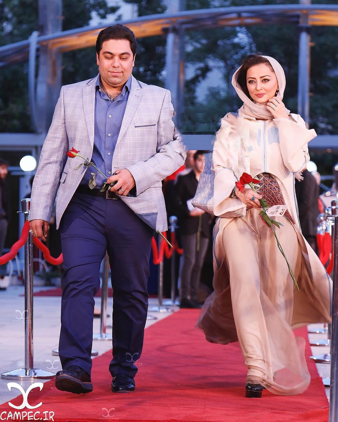 نفیسه روشن با همسرش در جشن حافظ