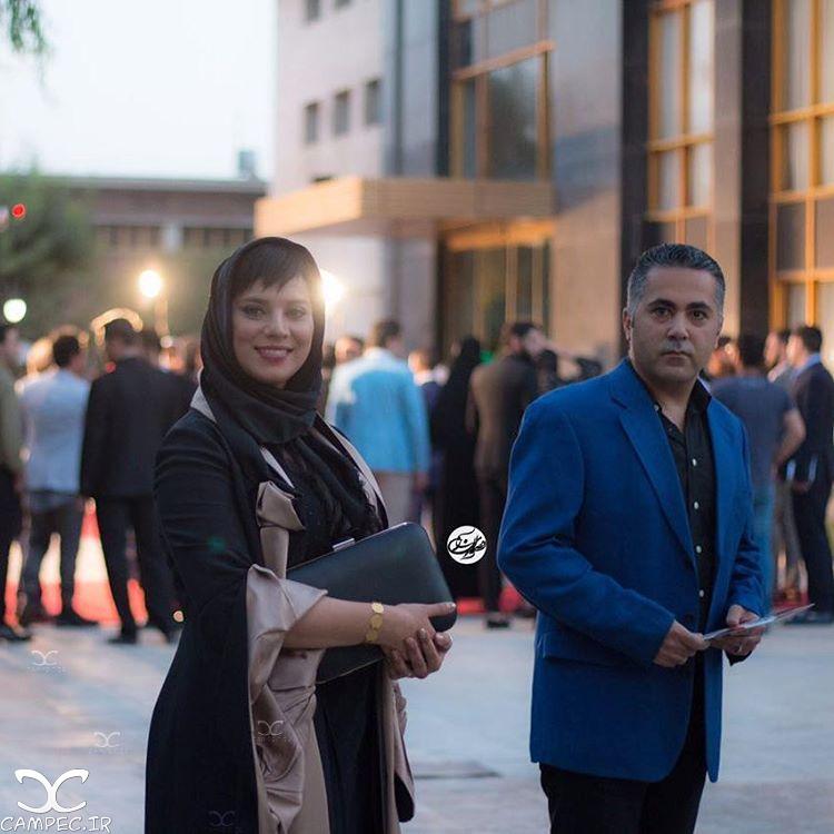 روشنک عجمیان با همسرش در جشن حافظ