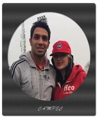 سپهر حیدری با همسرش