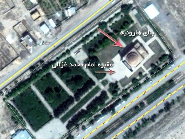 موقعیت آرامگاه امام محمد غزالی در هارونیه توس