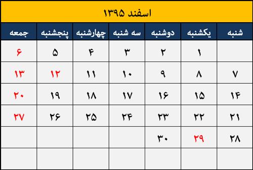 تقویم مناسبت ها و تعطیلات اسفند 1395