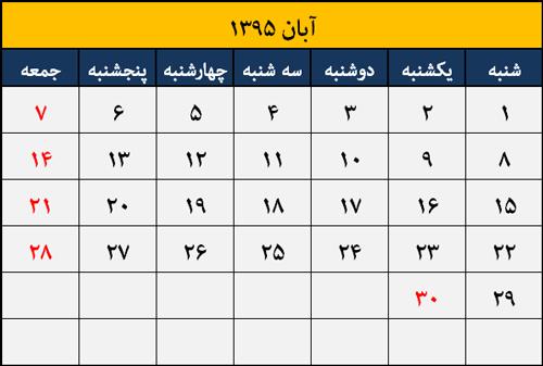تقویم مناسبت ها و تعطیلات آبان 1395