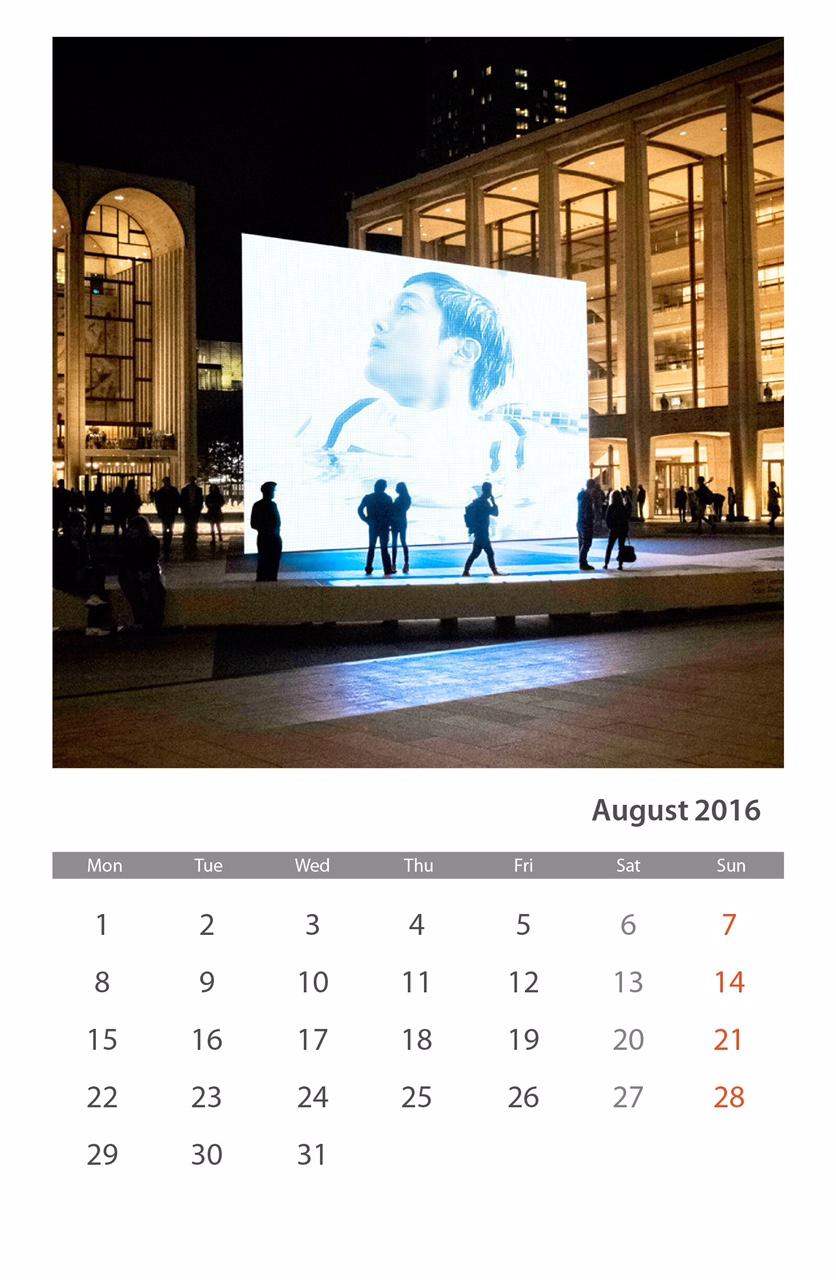 Calendar of August 2016